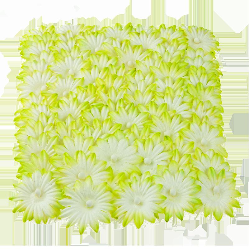 2 - tonowe zielone kwiatki - 100szt