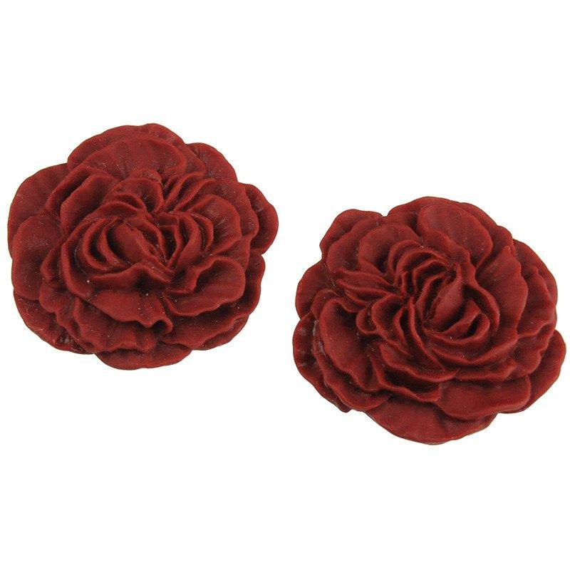 10 szt Kaboszon róża - czerwony matowy - 30mm