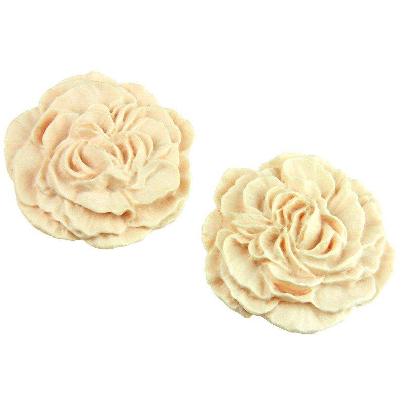 10szt Kaboszon róża cream matowy - 30mm