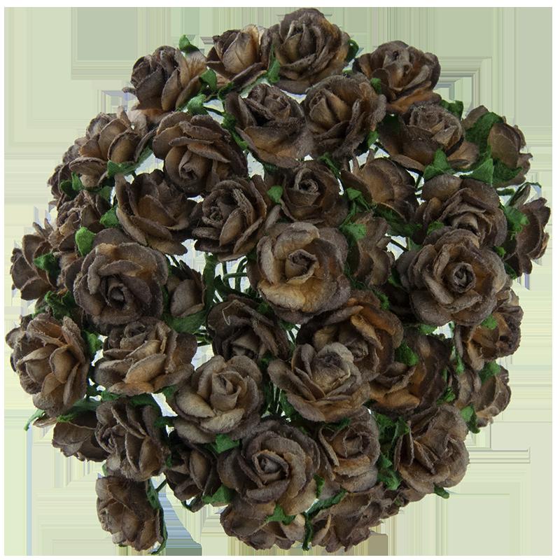 2-tonowe czekoladowo-brązowe różyczki otwarte