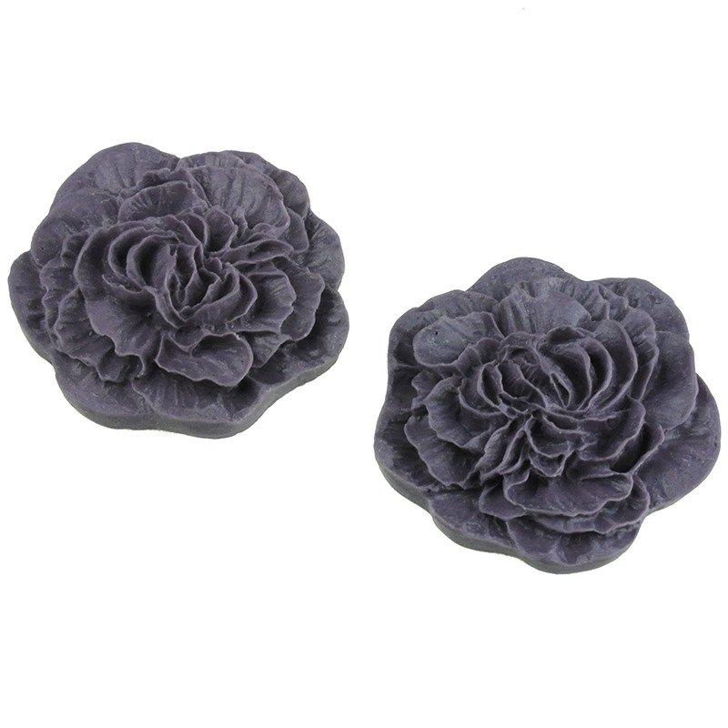10szt Kaboszon róża fioletowy matowy - 30mm