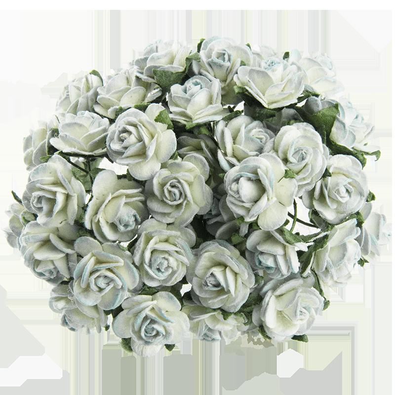 2-tonowe antyczne niebieskie różyczki otwarte