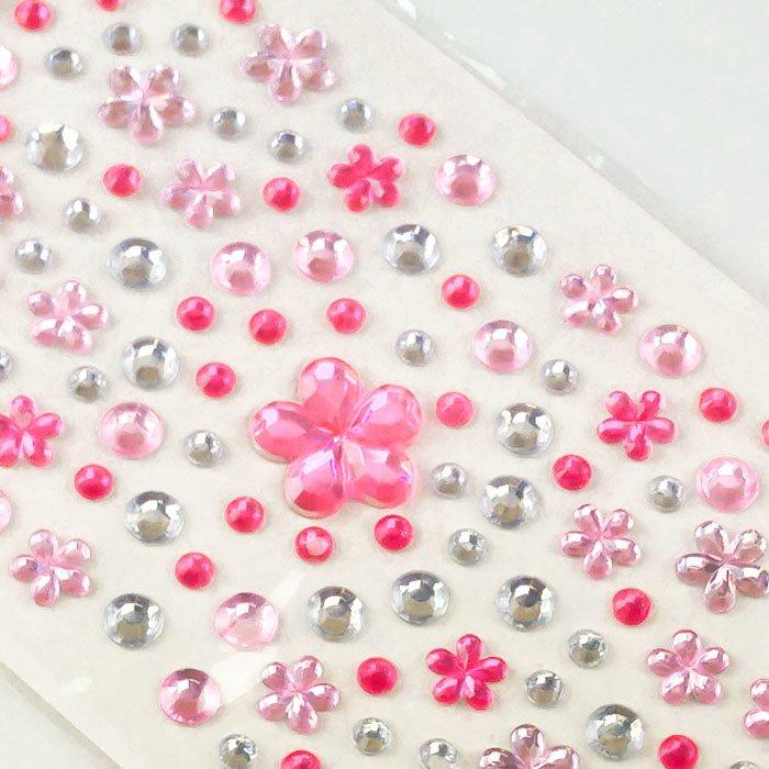 72f131be1eec7 ... Naklejki kryształki kwiatki i kółka różowe i srebrne ...