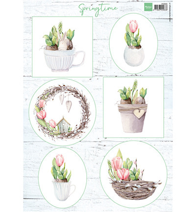 Arkusz A4 - Marianne Design - Tulips & willow cats - tulipany i bazie