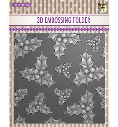 Folder do embossingu - Nellie's Choice - holly leaves & berries ostrokrzew