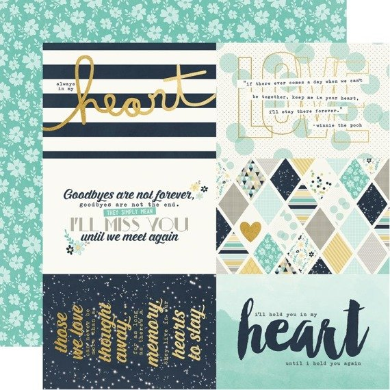 "Papier 30x30 - Simple Stories - Heart Gold Foil - 4""X6"" Elements"