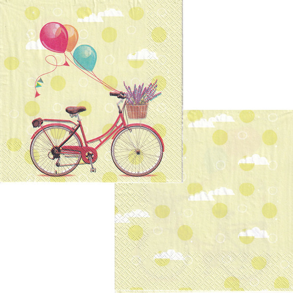 Serwetka 33x33cm - Bicycle with Balloons - rower balony