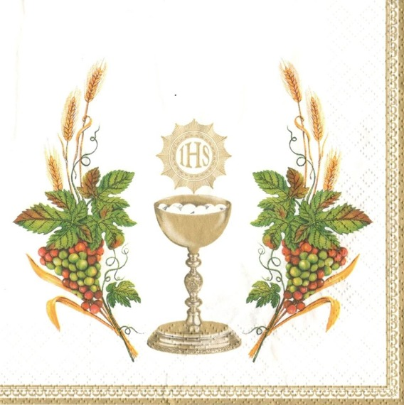 Serwetka 33x33cm - Chalice with Grapes and Wheat White