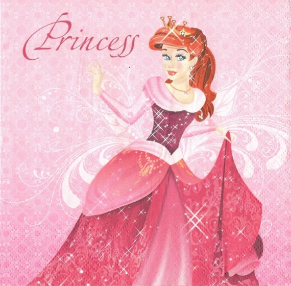 Serwetka 33x33cm - Pink Princess with Red Hair
