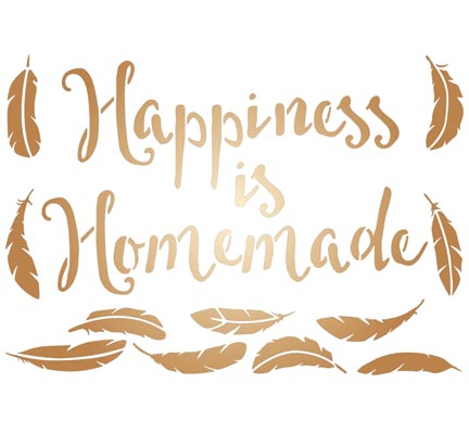 Szablon A3 - Text - Happiness is Homemade - piórka