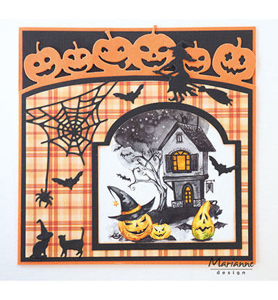 Wykrojnik - Marianne Design - Witch on broomstick - czarownica na miotle