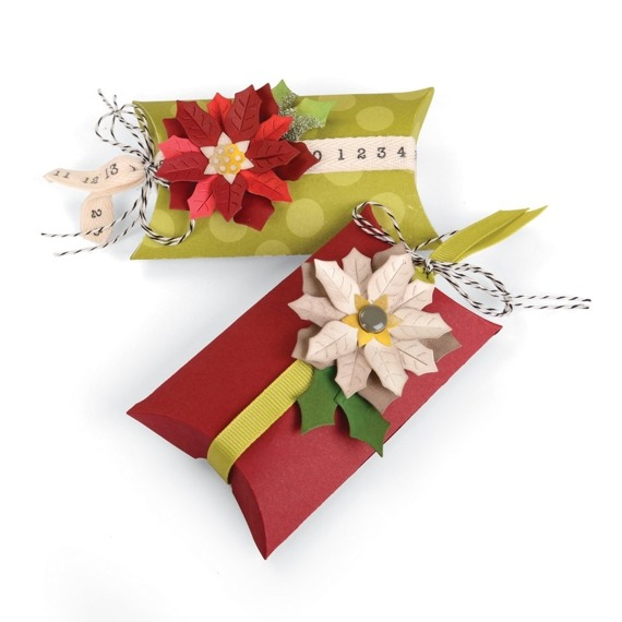 Wykrojnik Sizzix Thinlits - Box Pillow & Poinsettia 660660 pudełko i poinsetia