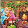 Serwetka 33x33cm - Children Kissing Santa Claus